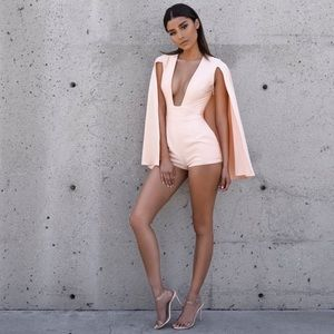 House of CB | Maren Blush Silky Caped Playsuit